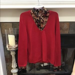 Nine West sweater and tie bow blouse xl floral
